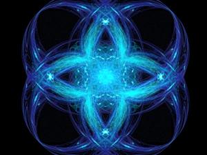 Blue geometric ornament.
